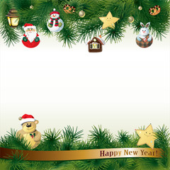 New Year background with toys in handmade style