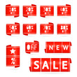 Vector sale and discount icons in red colour