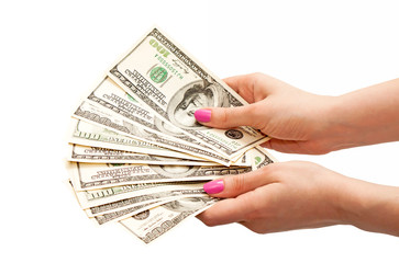 Woman's hands holding 100 US dollar banknotes
