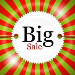 Vector Big Sale icon on red and green background