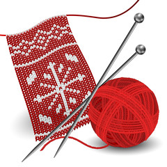 Knitting with needle and yarn ball