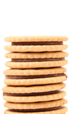 Stack of cookie biscuits with filling.