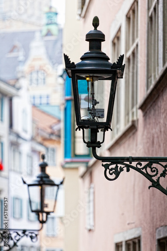Decorative lamp on a house wall, Zurich, Switzerland