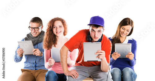 Young people with tablets