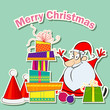 vector illustration of Santa with Christmas Gift