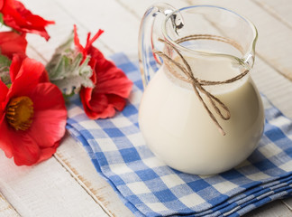Dairy products - milk in pitcher.