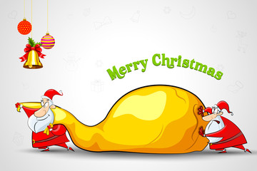 vector illustration of Santa pushing sack full of Christmas gift