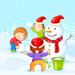 vector illustration of kids making Snowman for Christmas