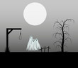 Spooky background with three ghosts standing in the cemetery