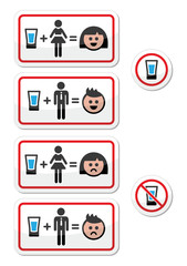 People drinking alcohol - sad and happy face icons set