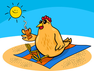 chicken on the beach cartoon