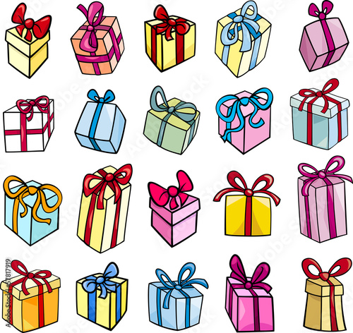 christmas or birthday gift clip art set