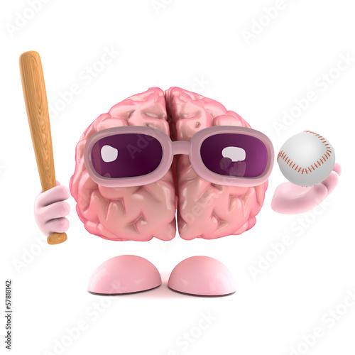 Brain plays baseball