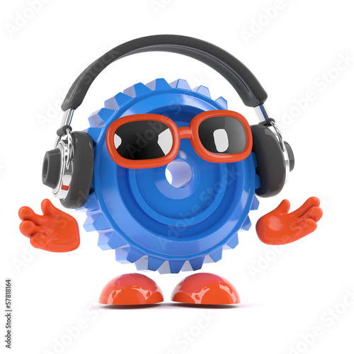 Plastic cog with headphones