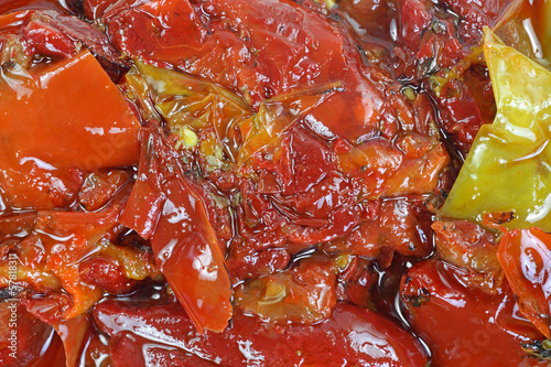 Red Yellow Peppers Olive Oil up Close