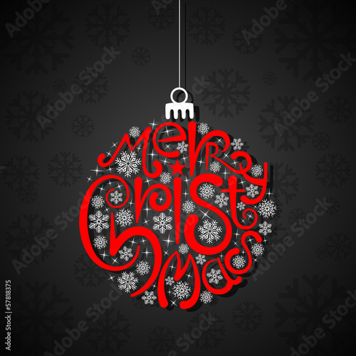 vector illustration of Christmas card with typography bauble