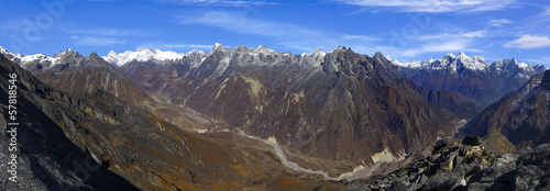 View of the Himalayan mountains.  Nepal Panorama
