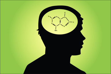 Chemical icon in man's head. concetual vector on green
