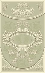 Vintage Frame or label with Floral background in olive