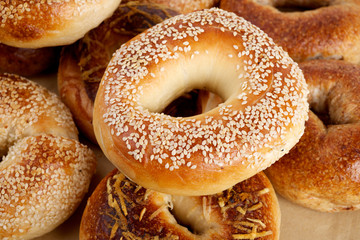 sesame bagel close up