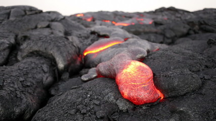 Molten lava flow at Kilauea volcano, Hawaii