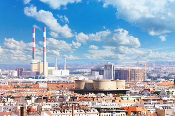 Industrial part of Vienna cityscape