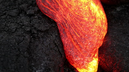 Molten lava close-up at Kilauea volcano