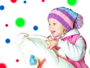 portrait of a little girl holding santa claus, christmas,