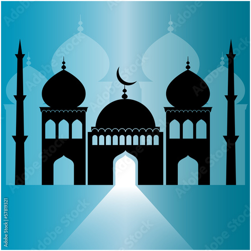 mosque on blue background with light ray from the door.