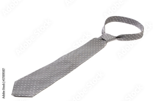 Close up of gray man's tie.