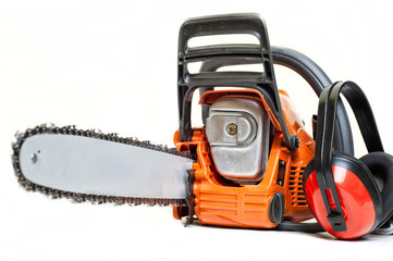 mechanical gasoline powered chainsaw with protective gear