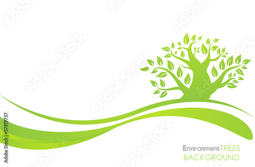 Silhouette of a tree with leaves on green backgroundtrees