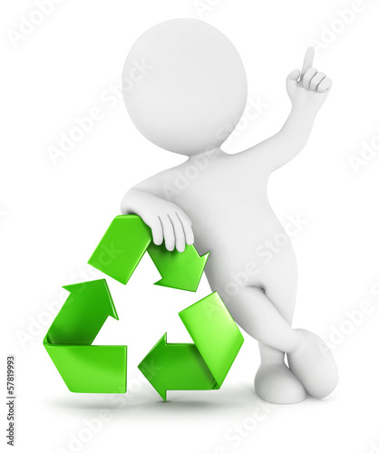 3d white people recycle sign