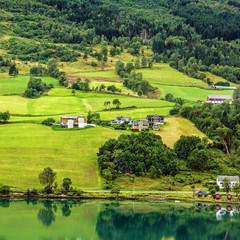 Norwegian village Olden in summer