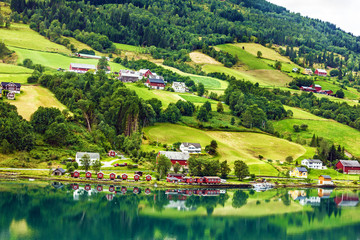 Country summer landscape, Olden, Norway
