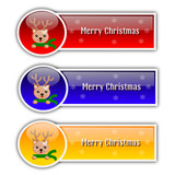 Vector illustration of christmas banners with reindeer