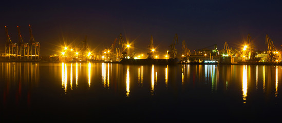Night view on sea port of Odessa, Ukraine.