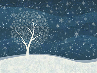 Winter card of snowfall with snowy tree.