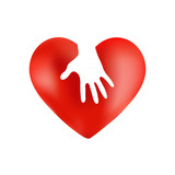 Heart icon with a hand on white background
