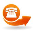 téléphone fixe sur bouton web orange