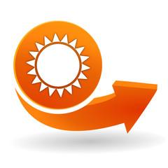 soleil sur bouton web orange