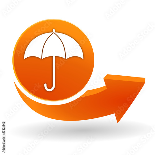parapluie sur bouton web orange