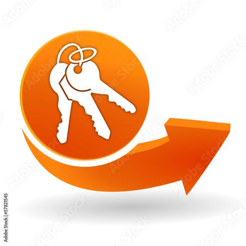 trousseau de clef sur bouton web orange