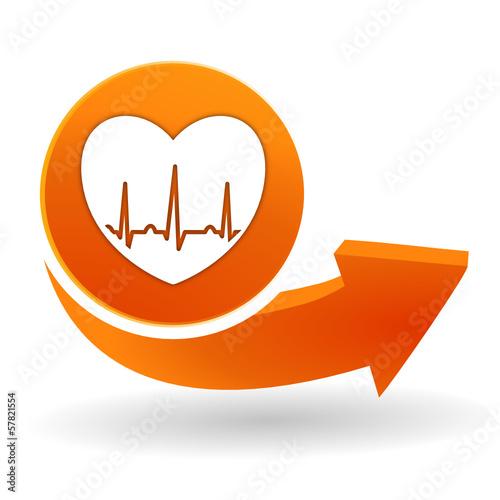 tracé cardiaque sur bouton web orange