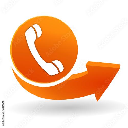 téléphone sur bouton web orange