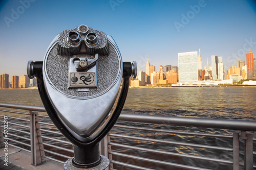 Coin operated binoculars with view of  New York City