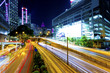 Downtown traffic at night in modern city