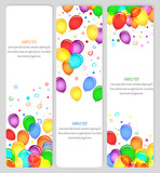 event banners with colorful balloons