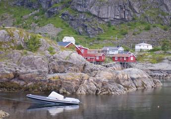 fishing village on Norwegian fjord