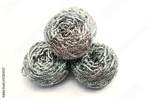 steel wool dishwashing on white background